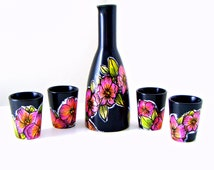 Ceramic Sake Set Hand Painted Orchids Illustrated Flowers Botanicals Asian Black Green Orange Pink Yellow - MADE TO ORDER