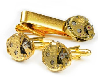 Steampunk Vintage Gold Watch Movement Cuff Links and Tie Bar Clip Set