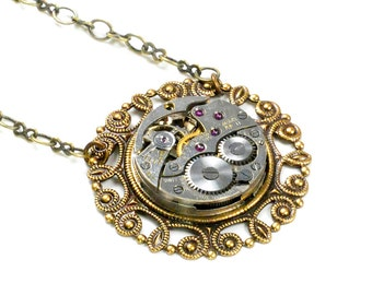 Steampunk Vintage Benrus Watch Movement and Brass Chain Necklace