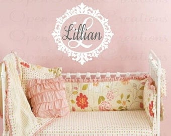 Name and Initial Wall Decal with Elegant Frame Border - Shabby Chic Baby Nursery Wall Decal - Girl Name Decal FN0022