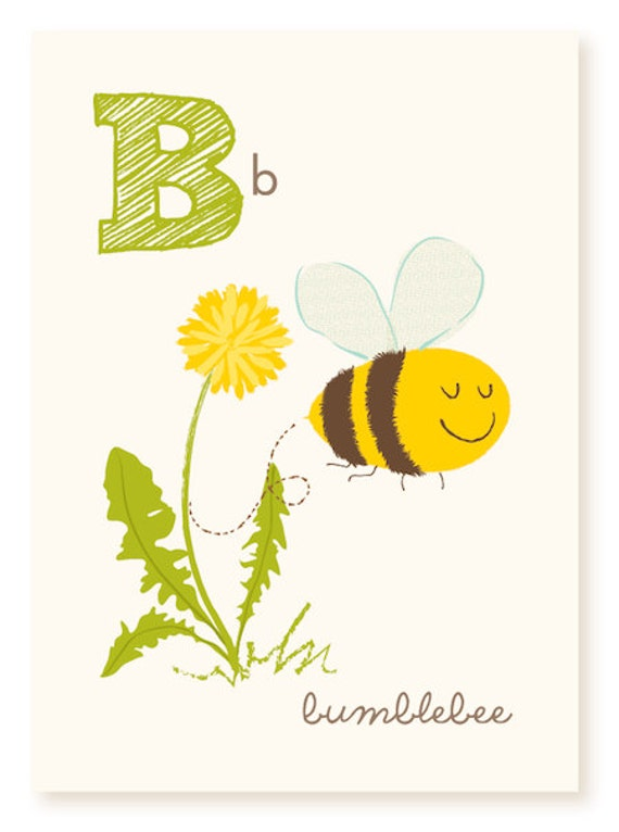 Abc card b is for bumblebee abc wall art alphabet flash for Bumble bee mural