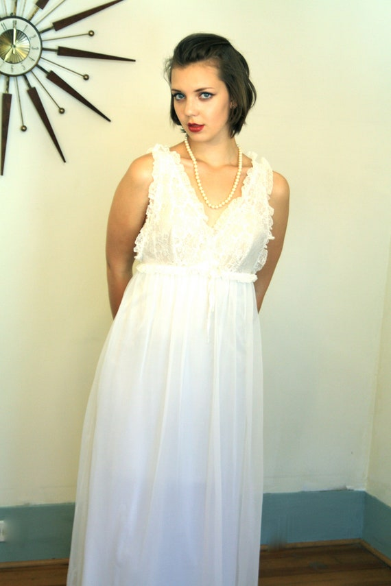 Vintage 60s White Lace Chiffon Nightgown Sheer Floor Length Wedding Negligee by LORRAINE Lingerie Night Gown 1960s MAD MEN Sleep Ware