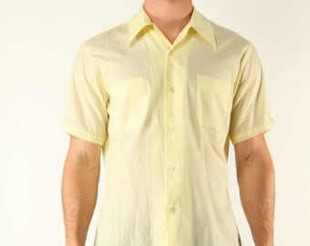 Vintage Yellow Dress Shirt Mid Century Rat Pack Mad Men M