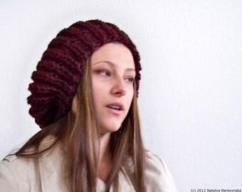 Knit Hat with Pom Pom, Chunky Knit Hat, Chunky Hat, Knit Slouchy Beanie, Knit Slouchy Hat, Womens Pom Pom Hat, Wool Hat, Knit Winter Hat