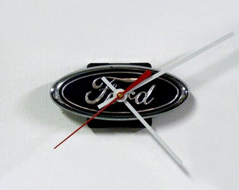 Ford Wall Clock - Recycled Ford Grille Emblem Clock - Auto Clock - Mini Clock - Car Clock