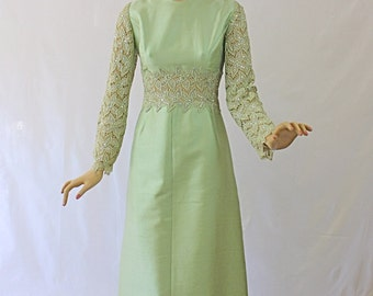 Vintage 60s Formal Dress Gown Celadon Green Shantung w Nude Lace AB Rhinestones