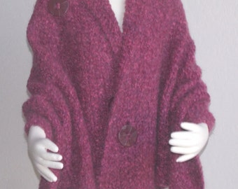 Hand Knit Shawl Hand Knit Wrap Hand knit Cape Mohair Blend Raspberry Plus Sizes Available