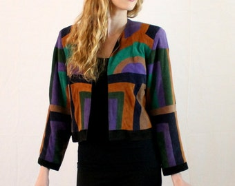 Vintage 1980s Suede Art Deco Inspired Jacket - Cropped - Women Small Medium