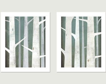 BIRCHES Diptych Giclee PRINT Pair - 11x14 inches Each - Signed Graphic Art Illustration by Native Vermont Studio