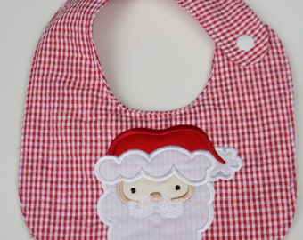 Santa Bib, Christmas bib, appliqued bib