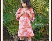 Girls Cinnamon Terracotta Damask Tunic Dress Handmade 6mos to 12