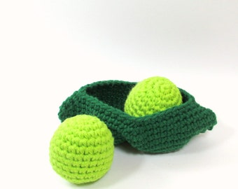 Two Peas in a Pod Crochet Vegetable Pretend Play Food, Crochet Stuffed Food Play Kitchen Toy, Toddler Play Set, Crochet Peas Montessori Toy