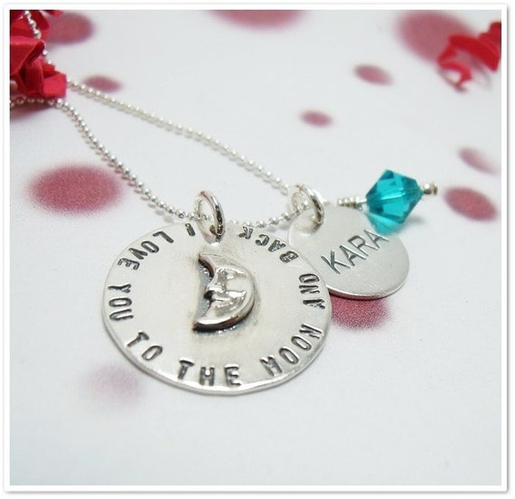 Hand Stamped Necklace - I Love You to the Moon and Back Necklace with Personalized Name Disc
