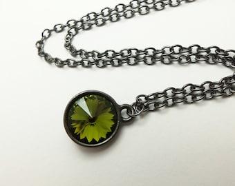Olive Green Crystal Necklace Dark Green Jewelry Dark Silver Gunmetal Pendant Modern Swarovski Crystal Gray Olive Necklace