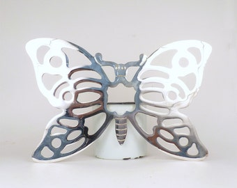 Vintage Silver Butterfly Trivet Tableware kitchen decor Made in Italy Housewares Hipster hippie boho trivet butterfly Wall Decor 7 x 10 IN
