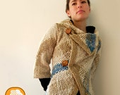 Flecked woolen unique design coat