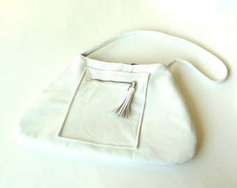 White Leather Purse - Shoulder Bag - Curvy Purse - Mod - 60s Style - Hand Made - Hip - Mod - Recycled - Eco Friendly - UNIQUE -