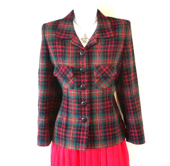 size 8 - sz 38 - Sonia Rykiel - Equestrian - Recycle - Eco Friendly - Plaid - Wool - Designer - Tailored - Tartan - Burns Night - Scottish
