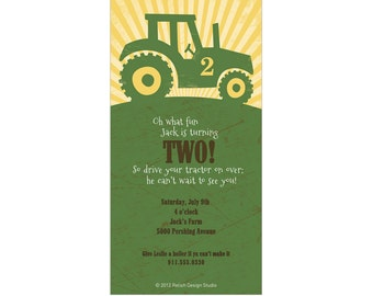 Big Green Tractor Birthday Party Invitation - Printable Tractor Invites, digital file, John Deere themed invitation