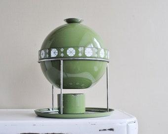 Cathrineholm Avocado Viking Saturn Fondue Set, Enamel Mid Century Kitchen, Olive Green and White Enamelware, Gatherings