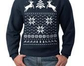 Ugly Christmas sweater -- Deer in the snow -- pullover sweatshirt -- s m l xl xxl xxxl