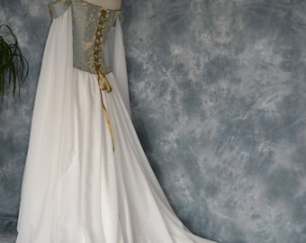 Medieval Wedding Dress,Elvish Gown,Renaissance Dress,Corseted Wedding Gown,Robe Medievale,Hand Fasting Dress,Pre Raphaelite Gown,Beth