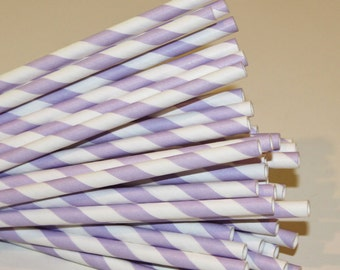 Paper Straws, 25 Purple Lilac Striped Paper Straws, Purple Paper Straws, Striped Straws, Frozen Party Straws, Baby Shower, Wedding Drink Bar