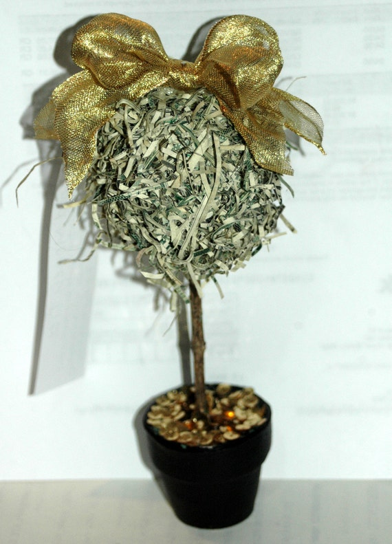 Recycled Money, Pot of Gold/Money Tree Decoration/Favor