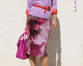 SALE / Sweater Knit Everyday Pencil Skirt - Fuchsia and Maroon mottled print