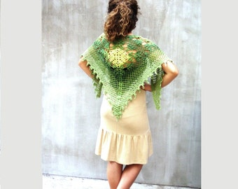 Greenery scarf, crochet scarf wrap, rustic lace scarf, fashion scarf, ombre scarf, triangular scarf, rustic wedding, feminine, cottage chic