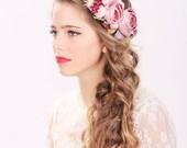 bridal flower hair crown, woodland wedding, pink flower, milinery flowerwedding hair accessories