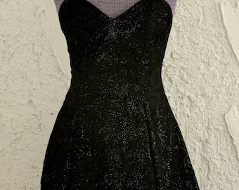 Vintage 1980s Glitter Velvet Sweetheart holiday dress - Cabbage Rose - floral - Party Dress - XS/S