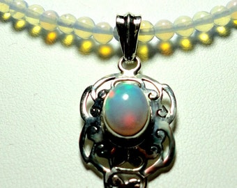 Opal Pendant and Necklace in Solid Sterling AAA Quality Genuine Solid Opal Cabochon Pendant with Opalite Bead Necklace and Sterling Silver