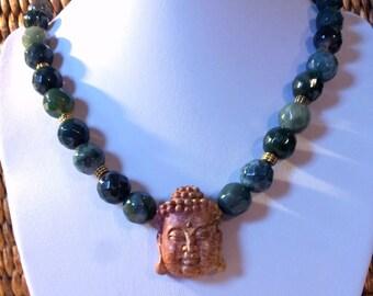 Buddha Necklace carved stone