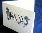 Thank You Note Card, Blank, Set of 5 with envelopes, Calligraphy, Custom Made to Order. Filigree, Blue