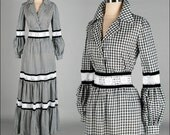 Vintage 1970s Dress . 2 Pc Set . Victor Costa . Skirt . Black White Checked . Cotton . White Lace . M/L . 2491