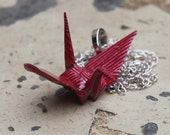 Origami Tsuru Crane Pendant Large - Deep Magenta with Silver and Gold Stripes