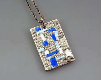 REDUCED! Handmade Silver and Enamel Blue Impressions Rectangular Pendant with light blue, dark blue and white enamel