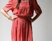 vintage 1980s dress / 80s red floral dress / LuLu Floral Dress