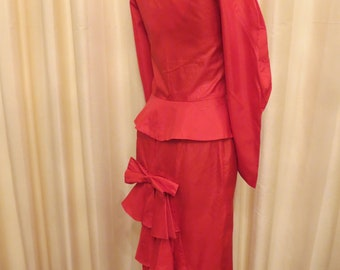 Vintage 1980s Victorian Style Red Two Piece Women's Suit