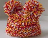 Kansas City...Chiefs... NFL Baby Girl or Boy..Newborn, 0 to 3 month & 3 to 6 Month sizes...Red, Yellow and White Pom Pom Hat..READY to SHIP