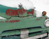 Old Teal Celery Green DODGE winter rusty hood snow-covered sage pistachio celery vintage Dodge Pickup 12x18 Giclee Photograph home decor
