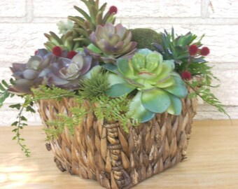 Planter of Artificial Succulents in Natural Woven Basket, Faux Succulent Planter, Table Planter