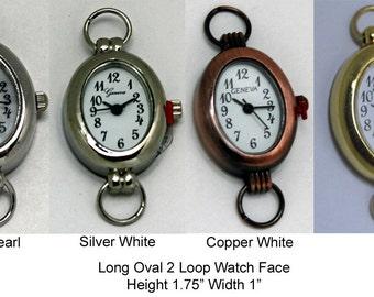 Long Oval 2 Loop Watch Face for Interchangeable Watch Bracelet