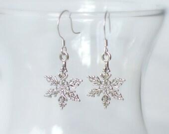 Sterling Silver Snowflake Earrings...Let It Snow, Winter Wonderland, Winter Wedding, Christmas, Christmas in July, Snow Flake, 925