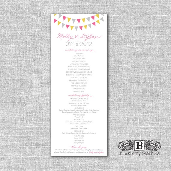 bunting banner garland, Wedding Program, Molly design