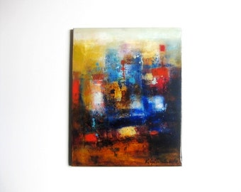 Original Abstract painting oil on canvas, one of a kind fine art, gift exchange, housewarming gift for brother, Christmas gift for husband