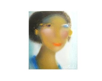 Oil Painting contemporary portrait impressionism lady in blue start your art collection at great price gift giving easy fast shipping