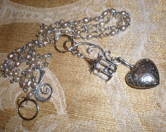 """Parisian Bride Pearls """"Love Birds"""" French Style Romance Heart Assemblage Necklace """"One of A Kind"""" Wedding Day Jewelry"""