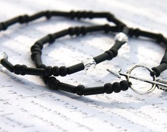 Friendship Bracelet Layered Bracelet Arrow Bracelet Black Stackable Bracelet Everyday Jewelry Layering Bracelet Tribal Bracelet trend